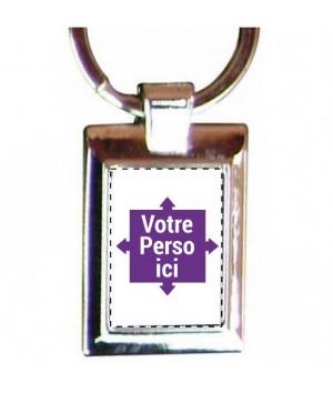 Porte clé photo rectangulaire personnalisé
