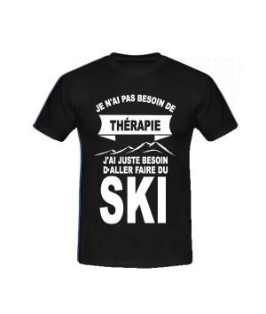 T-shirt humoristique besoin de skier