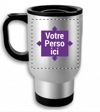 Mug, tasse isotherme argent personnalisé