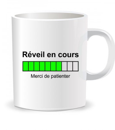 Mug, tasse réveil en cours